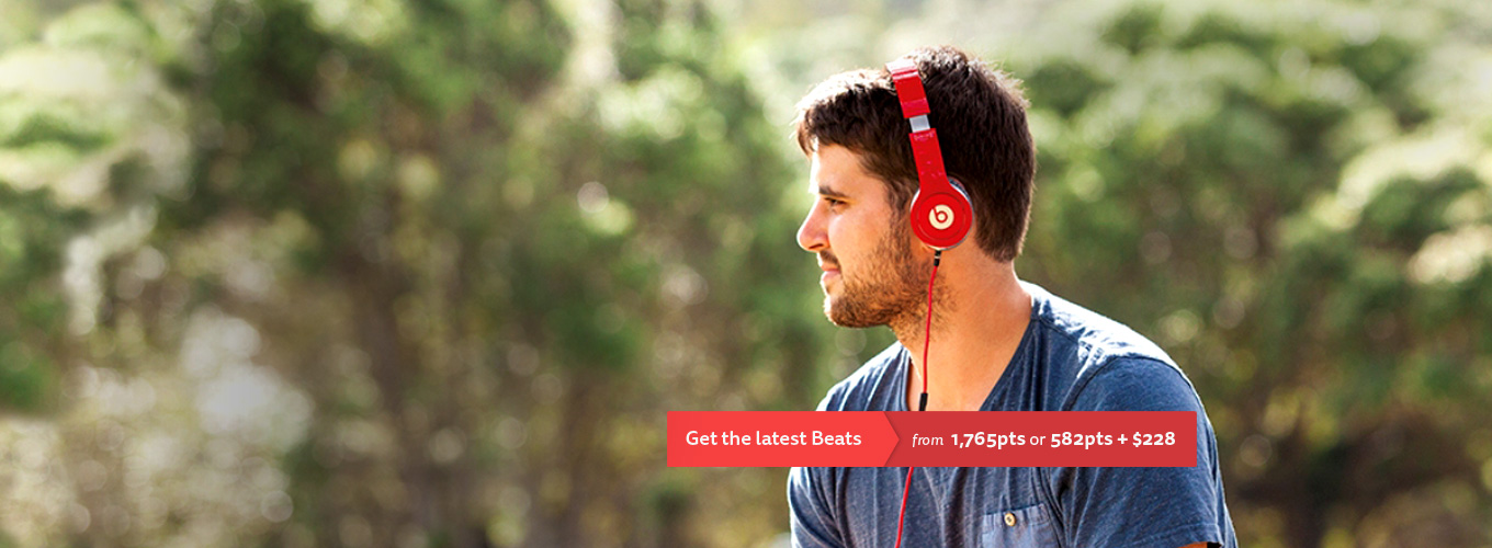 Get the latest Beats from 1,765pts or 582pts + $228