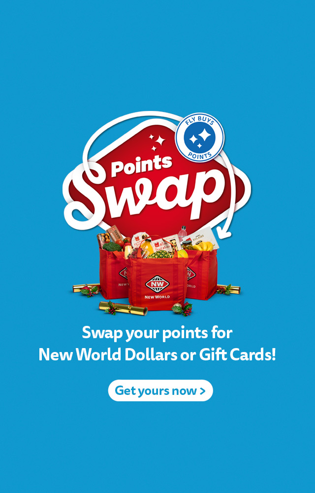 Swap your Fly Buys points for New World Dollars or Gift Cards