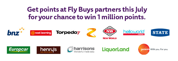 Get points at Fly Buys partners this July for chances to win 1 million points!