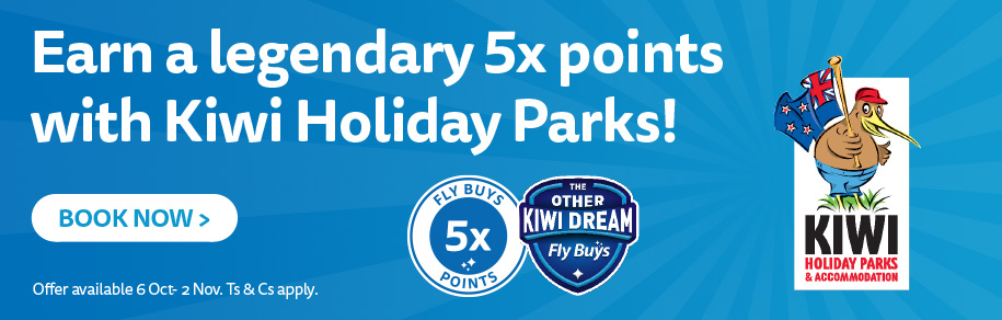 Earn a legendary 5x points with Kiwi Holiday Parks!