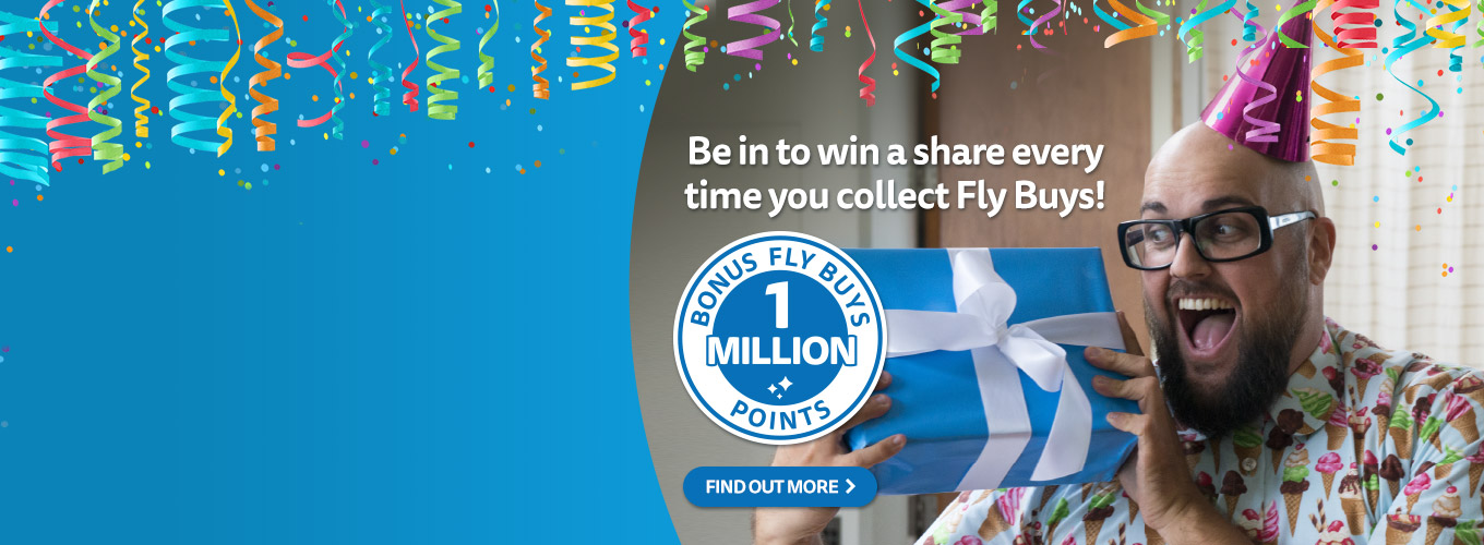 Be in to win a share of 1 million points and pressies every time you collect Fly Buys this September!