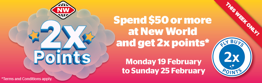 Get Double Points at New World